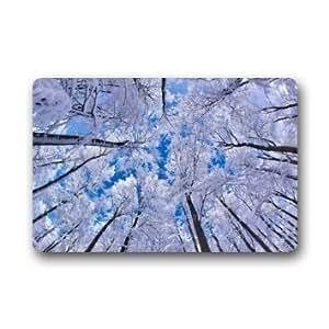 """Custom Tree In Winter Doormat Rug Indoor/Outdoor Door Mats Home Decor 23.6""""(L) x 15.7""""(W) Non Slip"""