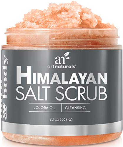 ArtNaturals Himalayan Salt Body and Face Scrub - (20 Oz / 567g) - Deep Cellulite Cleansing Exfoliator with Sugar, Shea Butter, Exfoliating Dead Sea - Natural Pink for Hand, Skin and Facial - Men and