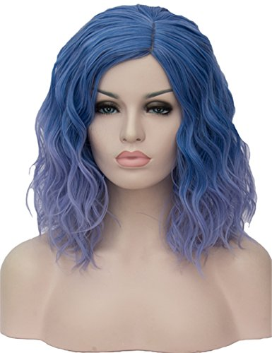 TopWigy Blue Cosplay Wig Medium Length Curly Body Wave Colorful Synthetic Heat Resistant Hair Wigs Costume Party Bob Women Full Wig (Blue to Gray 14)