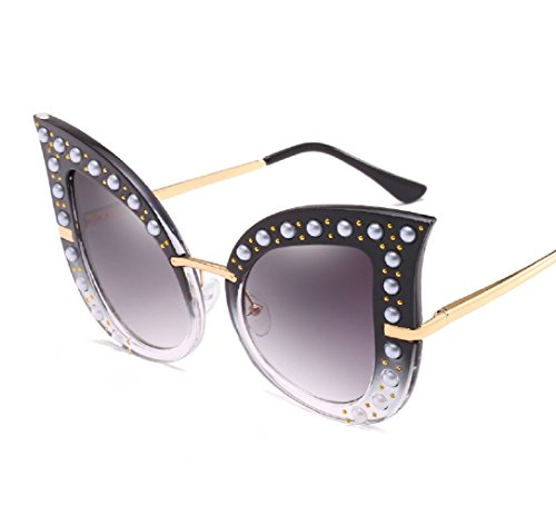 YABINA Luxury Sunglasses Women Inlaid Pearls Retro Sun glasses (C)