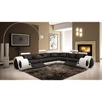 Amazon.com: 4086 moderno Seccional sofá de piel con sillones ...