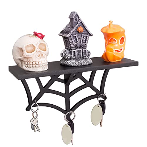 CEFRECO Spider Web Floating Shelf - Gothic Wall Decor for Kitchen and Room - Halloween Key Holder with Hanging Hooks - Wooden Modern Display Shelves for Crystals and Stones, Artwork - Black