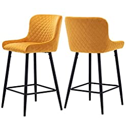 Kitchen Kmax Velvet 26″ Stools, Counter Height Upholstered Stool with Modern Metal Black Legs and Footrest for Kitchen Bar, Set of 2, Fresh Mango modern barstools
