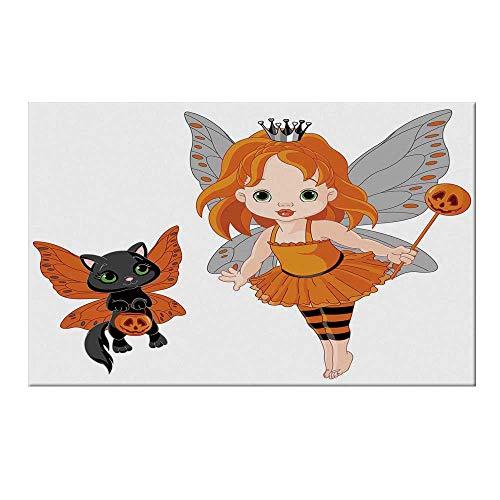 YOLIYANA Halloween Durable Door Mat,Halloween Baby Fairy and Her Cat in Costumes Butterflies Girls Kids Room Decor Decorative for Home Office,17.7