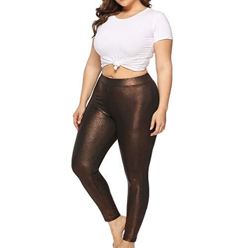 iHPH7 Women's Plus Size Comfort Leggings Casual Glossy Skinny Pants Yoga Sport Pants Leggings Trousers (XXL,Bronze) ()