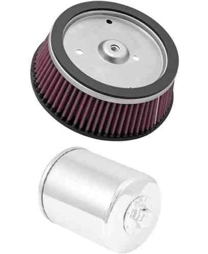 K&N Motorcycle Air Filter + Oil Filter Chrome Harley FXDSE Screamin Eagle Dyna HD-0800 + KN-171C