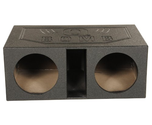 12' Vented Enclosure - Q Power QBOMB12VL Dual 12-Inch SPL Vented Speaker Box with Durable Bed Liner Spray