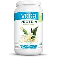 Vega Protein & Greens Vanilla Plant Based Protein Powder (25 Servings, 26.8 oz tub)