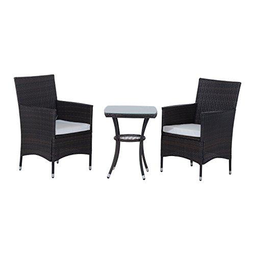 Outsunny Garden Outdoor Rattan Furniture Bistro Set 3 PCs