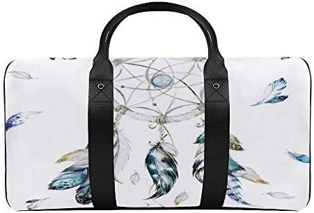 ブルーホワイトドリームキャッチャーチーフ1 旅行バッグナイロンハンドバッグ大容量軽量多機能荷物ポーチフィットネスバッグユニセックス旅行ビジネス通勤旅行スーツケースポーチ収納バッグ