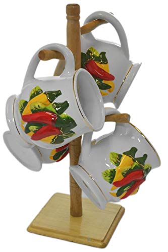 Set 4 Chili Peppers Southwestern 3-D Ceramic Tea Coffee Mugs with Wooden Rack ()