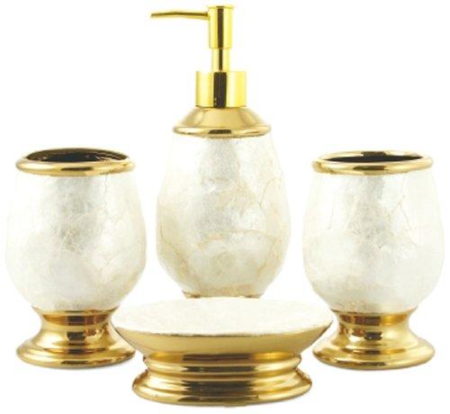 Galileo Casa Madreperla Set 4 Accessori da Bagno, Ceramica, Avorio/Oro, 9.3x12.8x22 cm 2175808