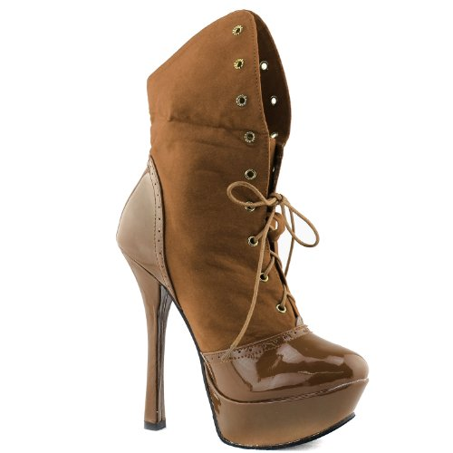 Fold Lace Shoes Women's Boots Able High Booties Calf up Camel Platform Ankle Heel Mid Fashion 0wqfBp