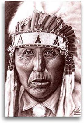 Lienzo premium de 30 cm x 45 cm de alto, diseño de soldados indios de Cherokees, imagen sobre bastidor, imagen lista para colocar sobre lienzo auténtico. Dibujo de Nicole Zeug (arte calveno).