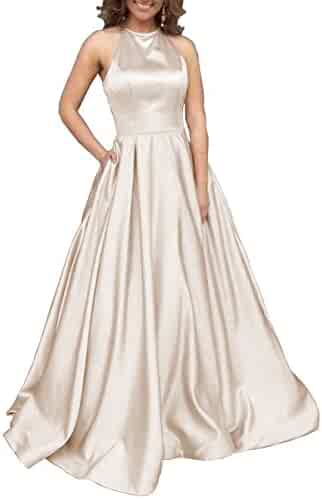 b077c732ef9 Women s Halter A-line Beaded Satin Evening Prom Dress Long Formal Gown with  Pockets