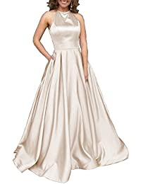3e103beb84d Women s Halter A-line Beaded Satin Evening Prom Dress Long Formal Gown with  Pockets