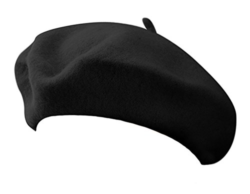 Classic French Artist 100% Wool Beret Hat Black -