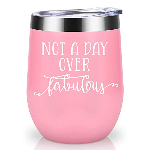 Not a Day Over Fabulous | Coolife 12oz Stainless Steel Novelty Wine Tumbler Insulated Funny Sippy Cup with Lid and Straw | Perfect Birthday, Wedding, Christmas, Mother's Day Gifts for Women