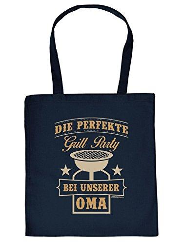 Stofftasche - Perfekte Grillparty bei Oma - lustig bedruckte Umhängetasche für Grill Fans mit Humor - Tasche Henkeltasche mit witzigem Spruch