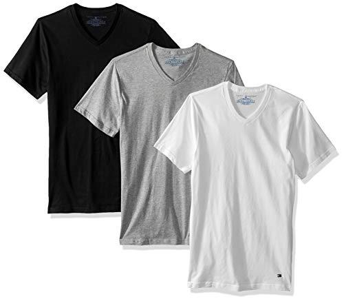 7e9a6ff1 Tommy Hilfiger Men's Undershirts 3 Pack Cotton Classics Slim Fit V-Neck T- Shirt