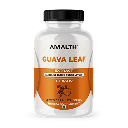 Guava Leaf Extract 5:1 for Maintains Blood Sugar Levels 500 mg 60 Veg Capsules
