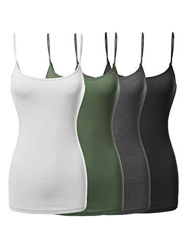 Made by Emma Basic Solid Long Length Adjustable Spaghetti Strap Tank Top BK/WT/Chrc/OLV - Memorial Women's Store