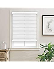 """Biltek Cordless Zebra Roller Blinds Sheer Shades/Free-Stop Combi Blinds, Dual Layer, Sheer or Privacy - White, 22"""" W X 72"""" H"""