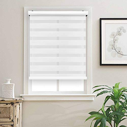 Biltek Cordless Zebra Roller Blinds Sheer Shades/Free-Stop Combi Blinds, Dual Layer, Sheer or Privacy – White, 26″ W X 72″ H