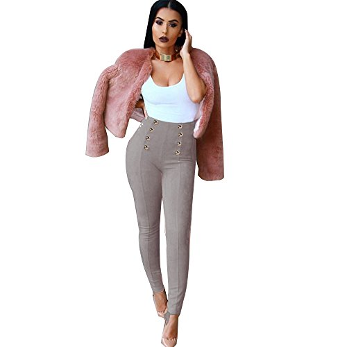 MORCHAN ? Taille Haute Slim Skinny Femmes Leggings Pantalon Stretch Jeggings Crayon Jeans Combinaisons Pantalon Court Collants Knickerbockers Gris