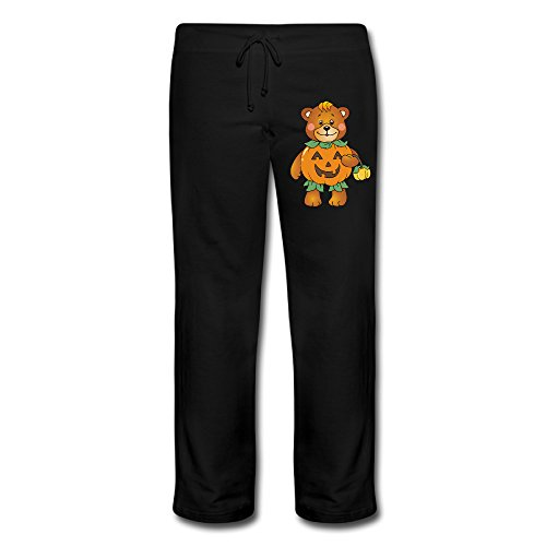 Wesley Halloween Pumpkin Bear Women's Soft Fleece Lounge Jogger Black (Disney Infinity Halloween Costumes)