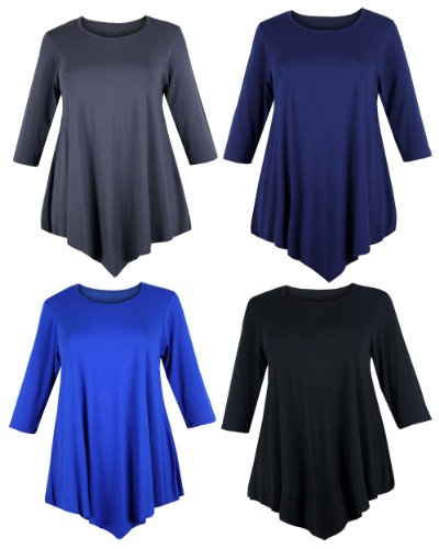 Curvylicious-Womens-Plus-Size-34-Sleeve-Round-Neck-Tunic-Top