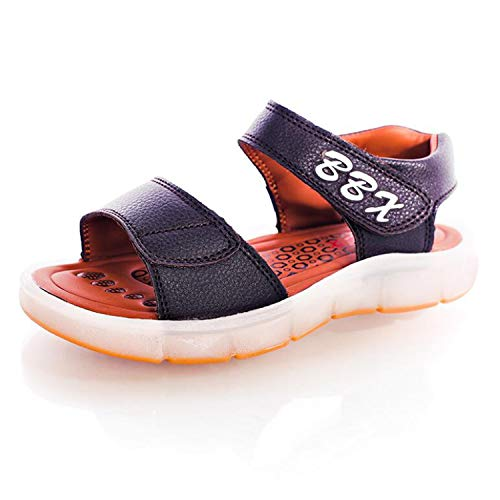 Fepsan Boys and Girls USB Charging Shoes Children Glowing Shoes Kids Summer Shoes 1607-Dk.Brown 13 ()