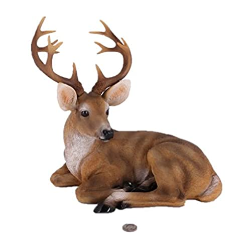 rubysports small buck statuary twelve point resin deer statue decorative bucking lying sculptures cabin decor art animal figurines lodge decor