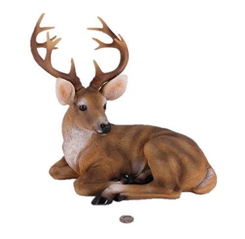 RubySports Small Buck Statuary 12 Point Resin Deer Statue Garden Lying Sculptures Cabin Animal Figurines Lodge Art Décor for Indoor Outdoor Home Or Office -
