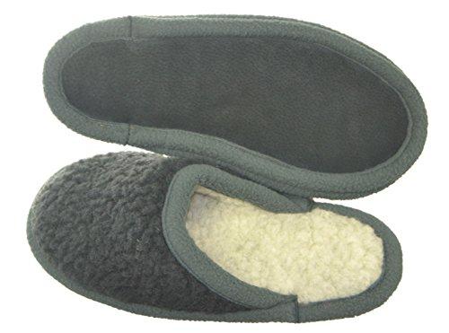 wollwarm - Zapatillas de estar por casa de Lana para hombre gris