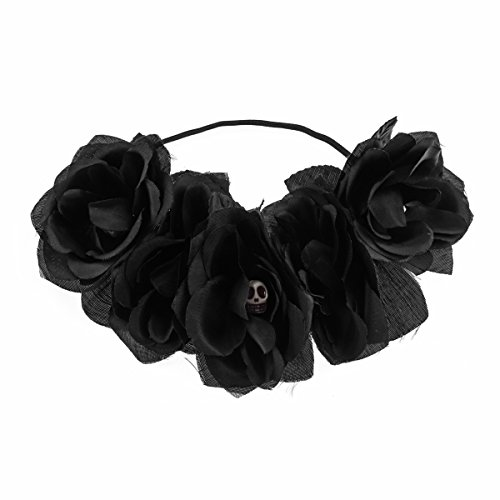 Love Sweety Rose Flower Headband Floral Crown Mexican Hair Wreath (Black (Halloween Skull Headband)