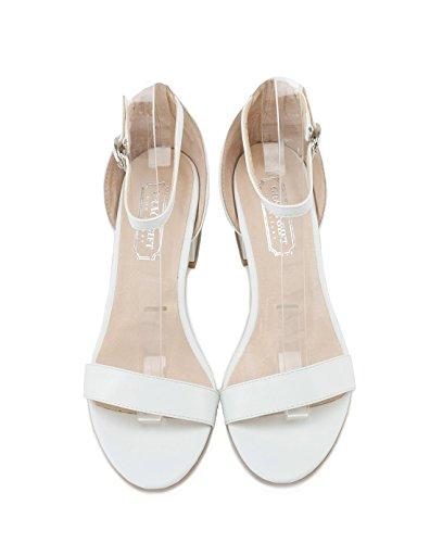 blanco confortables White altos Mujer verano sandalias 36 Moda tacones tw0Tx6C0q