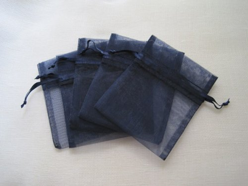 MyCraftSupplies Premium Organza Bags 3x4 Inch 30-Pack for Favors, Gifts, Jewelry (navy - Organza Bags Navy Blue 3x4