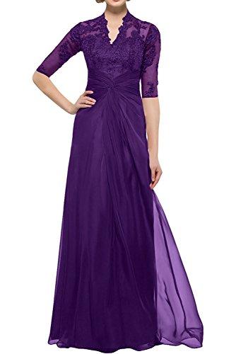 Damen mia Festlichkleider Braut La Langarm Abendkleider Dunkel Gruen Brautmutterkleider Lang Promkleider Lila Spitze Partykleider 1tqZxqg