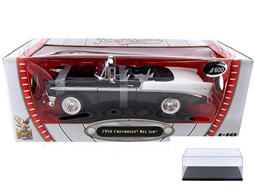 Road Signature Diecast Car & Display Case Package - 1956 Chevy Bel Air Convertible (Limited Production), Black w/ White Trim 82128BK - 1/18 Scale Diecast Model Toy Car w/Display Case (Bel Chevy Air Convertible)