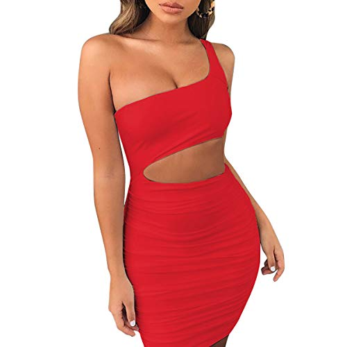 (LEWTAC Women's Sexy one Shoulder Backless Jumpsuits Cutout Club Ruched Bodycon Mini Dress (Sleveless-Red, XS))
