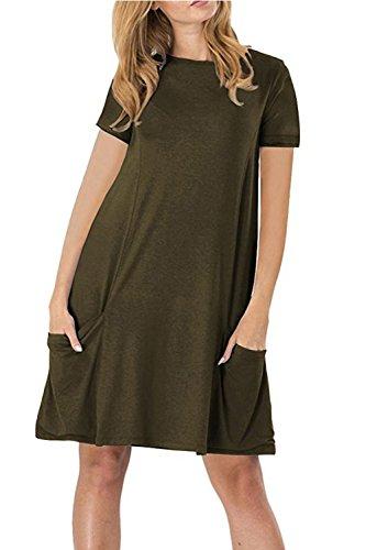 WIWIQS Women's Casual Short Sleeve Pockets T-shirt Loose Midi Dress,Army Green XL (Plus Size 90s Fancy Dress)