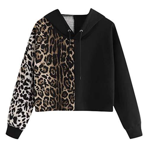 Yoyorule Autumn Pullover Top Women's Leopard Print Sweatshirt Long Sleeve V-Neck Pullover Causal Tops Blouse Black (Mock Crocodile Belt)