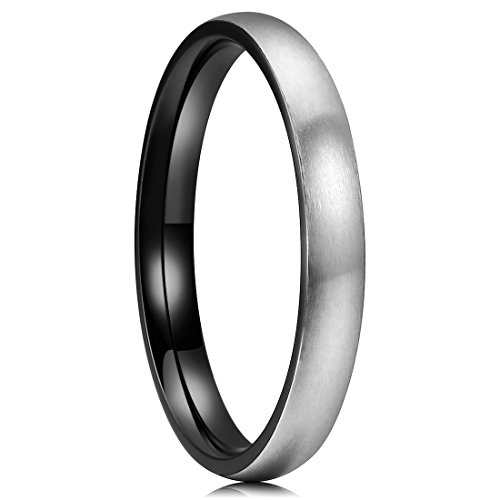 King Will Basic 3mm Titanium Ring Stainless Steel Brushed/Matte Black Comfort Fit Wedding Band for Men 7.5