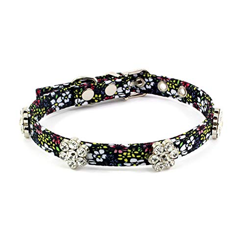 PetFavorites Rhinestone Floral Dog Cat Collar - Bling Dog Birthday Jewelry for Small Dogs Girl - Female Chihuahua Yorkie Clothes Costume Accessories, Adjustable Buckle (Pattern B, Size S)