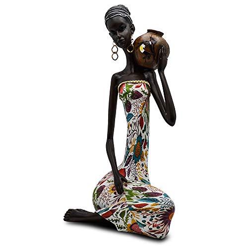 Rockin Statue African Figurine Sculpture Colorfull Dress Sitting Down Lady Figurine Statue Decor Collectible Art Piece 16