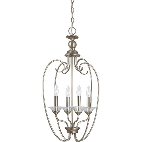 Sea Gull Lighting 51316-965 Pendant with Clear Glass Bobeches Shades, Antique Brushed Nickel Finish ()