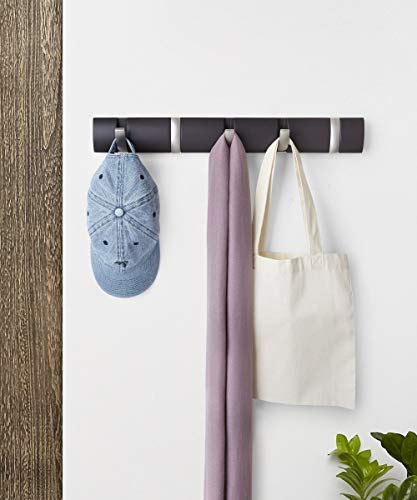 Umbra Flip 5-Hook Wall Mounted Floating Coat Rack – Modern, Sleek, Space-Saving Coat Hanger with 5 Retractable Hooks to Hang Coats, Scarfs, Purses and More, Espresso/Nickel