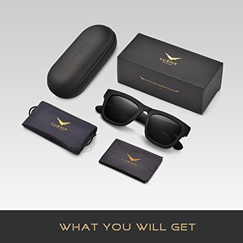 71ff4353cb LUENX Mens Wayfarer Polarized Sunglasses Classic UV 400 Protection Black  Lens Matte Black Frame 58MM with Case Daily Deals Daily Deals