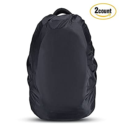AGPTEK 2-Pack Nylon Waterproof Backpack Rain Cover for Hiking /Camping /Traveling /Outdoor Activities, Black,Size M:30-40L